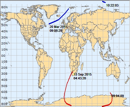 March 20 and September 13, 2015 Solar Eclipse Paths